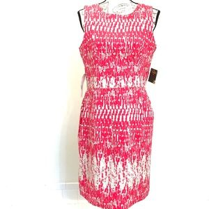 NWT Taylor Pink & Cream Print Sheath Dress